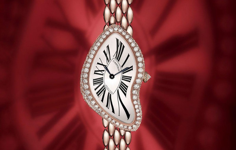 Ladies' Copy Cartier Crash Watches With Pink Gold Cases
