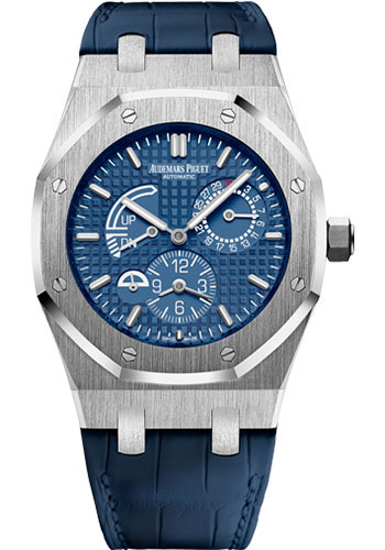 Dual Time Zones For Audemars Piguet Royal Oak Knockoff Watches With Blue Alligator Straps