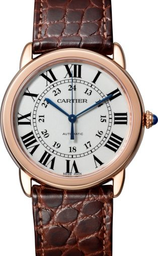 36MM Ronde Solo De Cartier Fake Watches With Brown Alligator Straps Of Round Scales