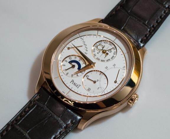 Noble And Exquisite 43MM Piaget Black Tie Replica Watches With Shiny Rose Gold Cases