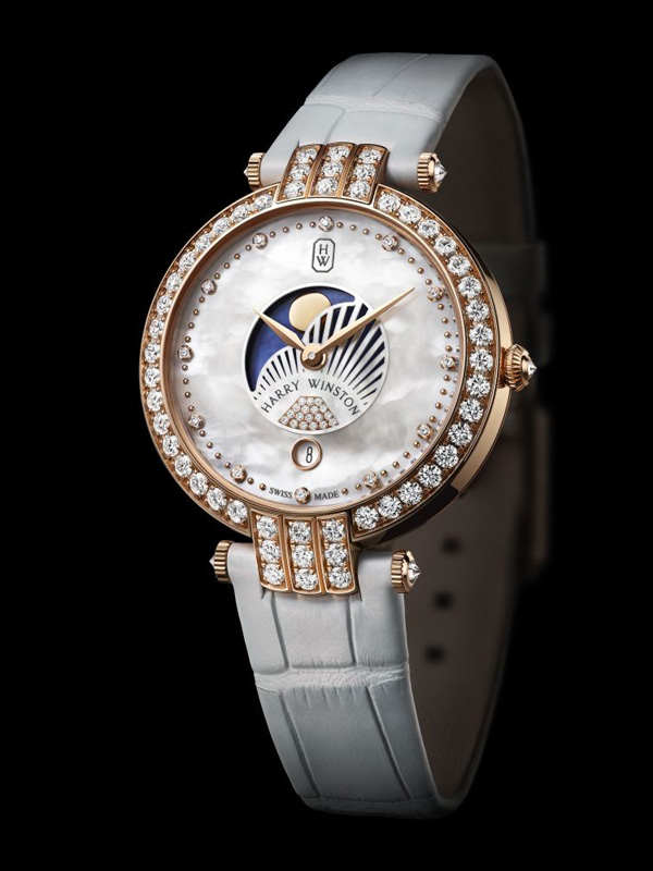 diamond bezel copy fake Harry Winston Premier 36 mm Moon Phases