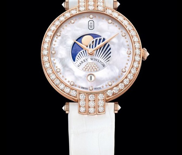 Rose Gold Copy Harry Winston Premier 36MM Moon Phases Watches Presented To Elegant Women