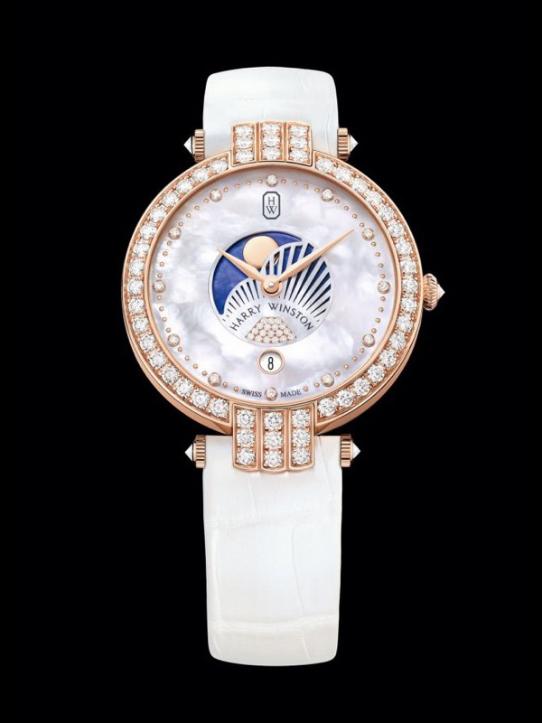 rose gold pointer copy fake Harry Winston Premier 36 mm Moon Phases