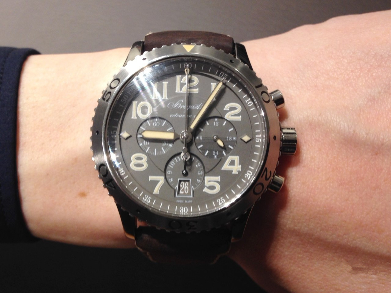 Breguet Type XX - XXI - XXII 3817 Replica Watches With Black Crocodile Straps
