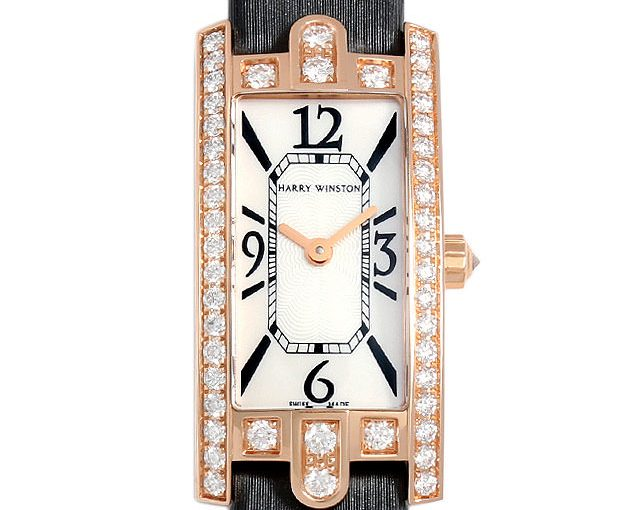Mini-Sized Harry Winston Avenue Fake Watches With Black Straps For Modern Ladies